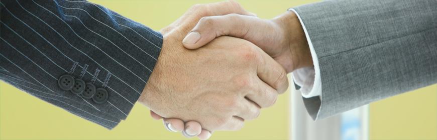 Två människor som skakar hand med varandra