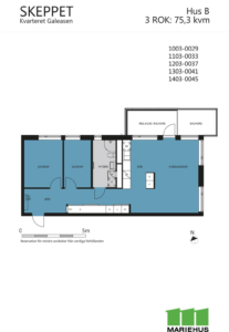 Planlösning för 3 rum och kök