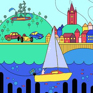 Illustration med olika fordonstyper och stadsvy